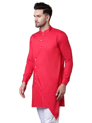 red cotton asymmetric kurta - 15729274 - Standard Image - 2