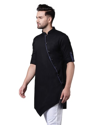 black cotton asymmetric kurta - 15729285 - Standard Image - 2