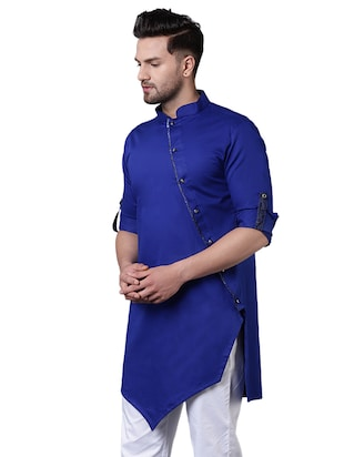 blue cotton asymmetric kurta - 15729286 - Standard Image - 2