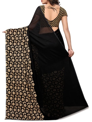 floral printed saree with blouse - 15729581 - Standard Image - 2