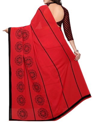 geometrical printed half & half saree with blouse - 15729582 - Standard Image - 2