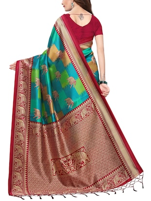 conversational printed saree with blouse - 15729595 - Standard Image - 2