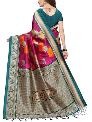 conversational printed saree with blouse - 15729596 - Standard Image - 2