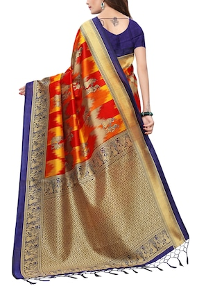 conversational printed saree with blouse - 15729601 - Standard Image - 2