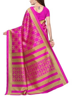 checkered printed saree with blouse - 15729605 - Standard Image - 2