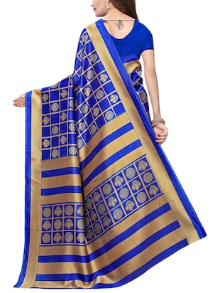 checkered printed saree with blouse - 15729607 - Standard Image - 2