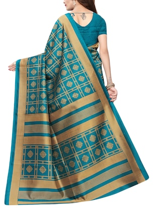 floral turquoise printed saree with blouse - 15729611 - Standard Image - 2