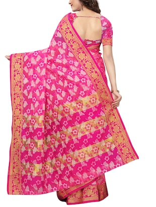 floral woven saree with blouse - 15729629 - Standard Image - 2