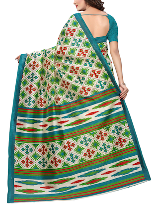geometrical bhagalpuri saree with blouse - 15729653 - Standard Image - 2