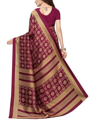 floral printed saree with blouse - 15729657 - Standard Image - 2