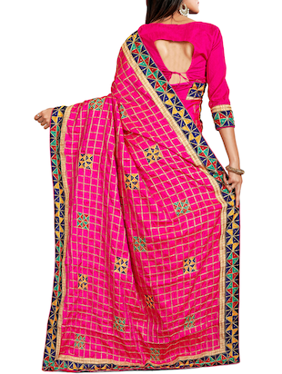 geometrical resham embroidered saree with blouse - 15729725 - Standard Image - 2