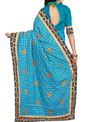 geometrical resham embroidered saree with blouse - 15729731 - Standard Image - 2