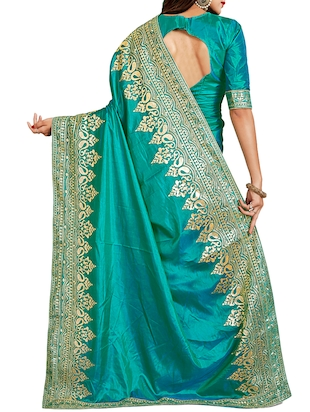 contrast thread embroidered saree with blouse - 15729738 - Standard Image - 2