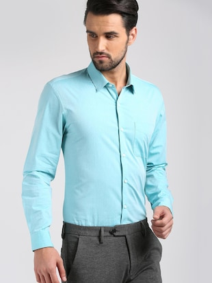 blue cotton formal shirt - 15729845 - Standard Image - 2