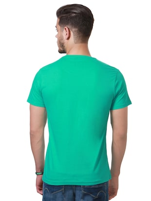 green cotton chest print t-shirt - 15729906 - Standard Image - 2
