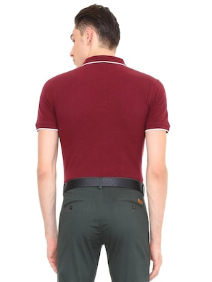 maroon cotton polo t-shirt - 15729984 - Standard Image - 2