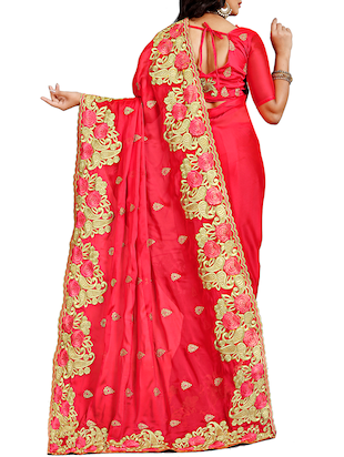 floral embroidered saree with blouse - 15730084 - Standard Image - 2