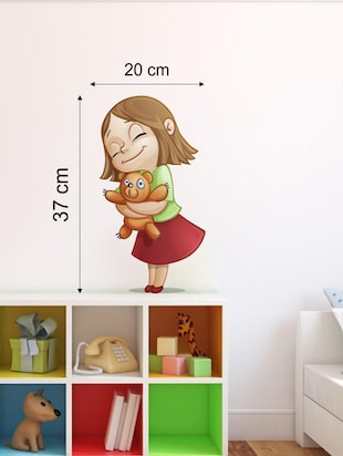 Wall Decals ' Little Girl with Teddy '  Wall stickers (PVC Vinyl) - 15730182 - Standard Image - 2