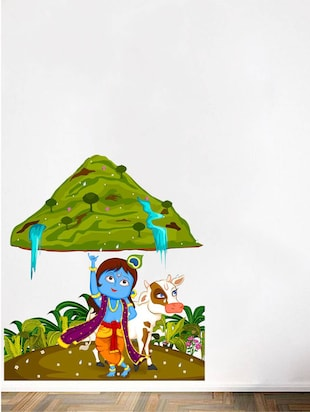 Wall Decals ' Krishna lifting Govardhan Hill in Forest '  Wall stickers (PVC Vinyl) - 15730234 - Standard Image - 2
