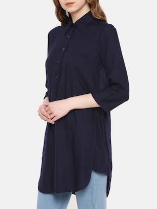 navy blue button detail tunic - 15730327 - Standard Image - 2