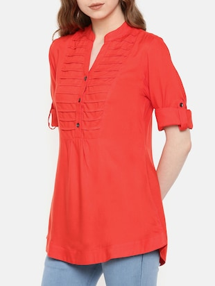pintucked button detail tunic - 15730334 - Standard Image - 2