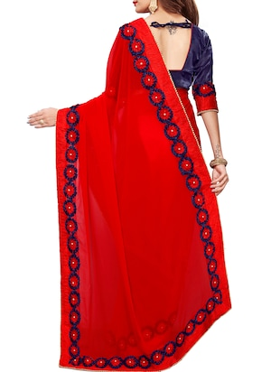 floral lace border saree with blouse - 15730345 - Standard Image - 2