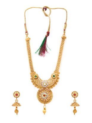 gold metal necklaces and earring - 15731217 - Standard Image - 2