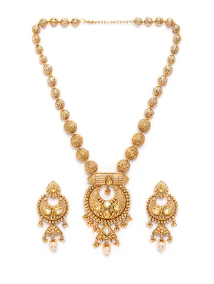 gold metal necklaces and earring - 15731231 - Standard Image - 2