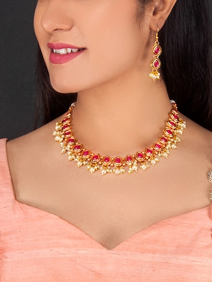 Gold Tone Necklace & Earrings Set - 15731242 - Standard Image - 2