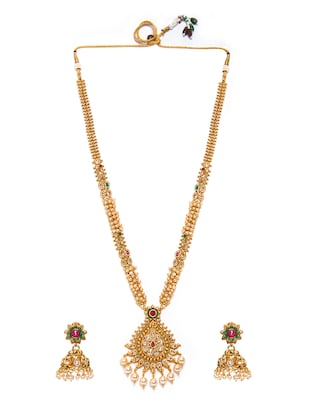 Gold Tone Necklace & Earrings Set - 15731246 - Standard Image - 2