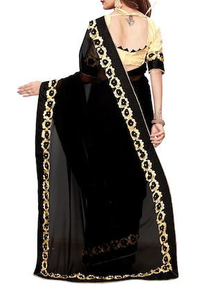 floral lace border saree with blouse - 15731267 - Standard Image - 2