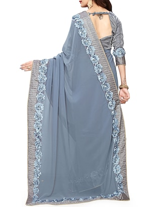 floral lace border saree with blouse - 15731269 - Standard Image - 2