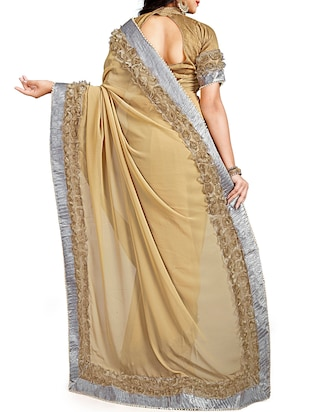 floral lace border saree with blouse - 15731390 - Standard Image - 2