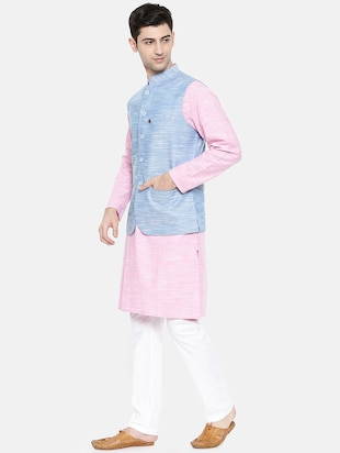 pink cotton kurta pyjama set with nehru jacket - 15731536 - Standard Image - 2