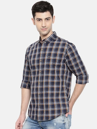 blue cotton casual shirt - 15731554 - Standard Image - 2