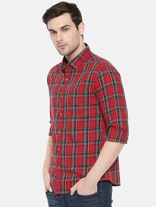 red cotton casual shirt - 15731580 - Standard Image - 2