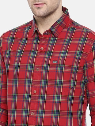 red cotton casual shirt - 15731580 - Standard Image - 5