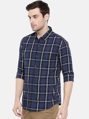 blue cotton casual shirt - 15731585 - Standard Image - 2