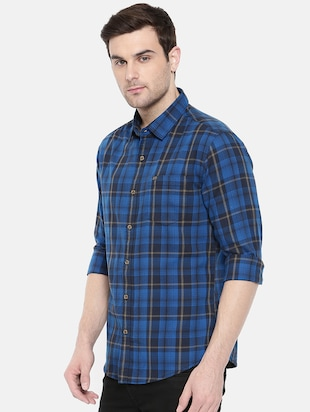 blue cotton casual shirt - 15731586 - Standard Image - 2