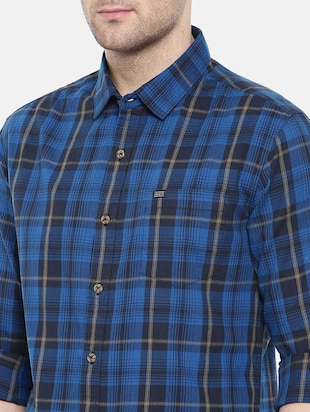 blue cotton casual shirt - 15731586 - Standard Image - 5
