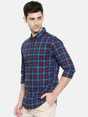 blue cotton casual shirt - 15731589 - Standard Image - 2