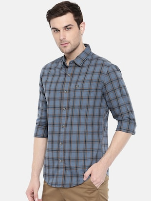 blue cotton casual shirt - 15731591 - Standard Image - 2