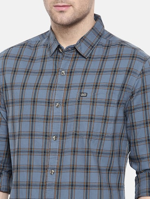 blue cotton casual shirt - 15731591 - Standard Image - 5