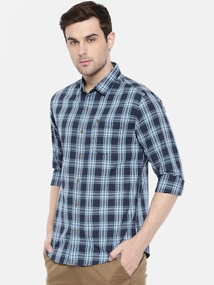 blue cotton casual shirt - 15731592 - Standard Image - 2