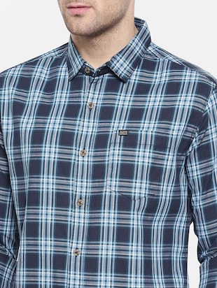 blue cotton casual shirt - 15731592 - Standard Image - 5