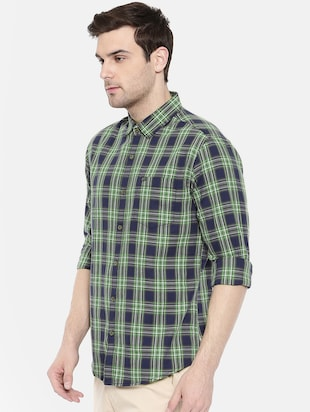blue cotton casual shirt - 15731593 - Standard Image - 2