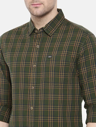 green cotton casual shirt - 15731600 - Standard Image - 5