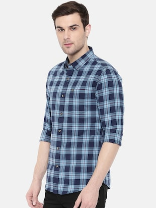 blue cotton casual shirt - 15731601 - Standard Image - 2