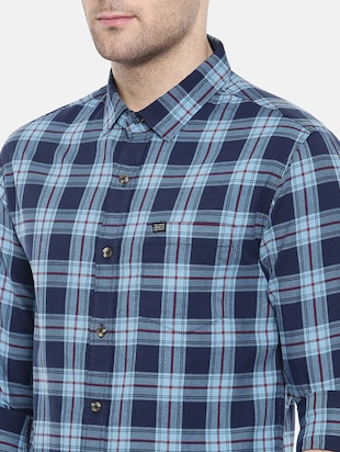 blue cotton casual shirt - 15731601 - Standard Image - 5