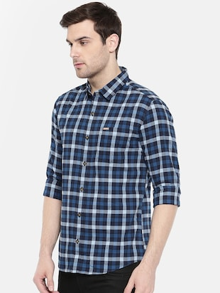 blue cotton casual shirt - 15731623 - Standard Image - 2